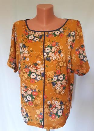 Блуза с короткими рукавами свободного кроя m&s ( размер 12)