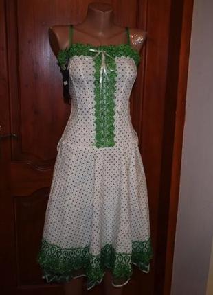 Шикарное хлопковое платье в горошек и с ажурным ярким кружевом! платье-корсет!