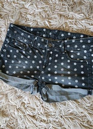 Крутые джинсовые шорты в горошки