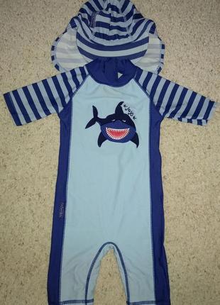 Jojo maman baby гидрокостюм+шапка солнцезащитный плаванье акула