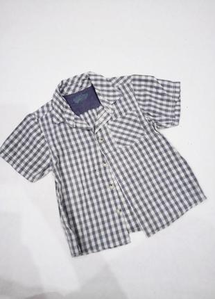 2-3г.|92-98см. шведка-рубашка с коротким рукавом в клетку matalan