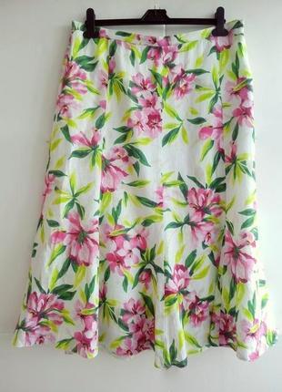 Льняная юбка-миди с цветочным принтом viyella 18р.
