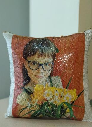 Подушка декоративная с пайетками с вашим фото