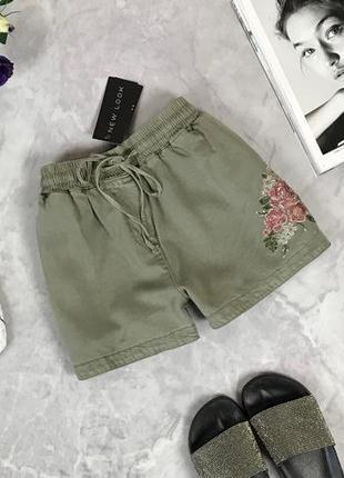 Стильные шорты на кулиске с вышевкой  pn1924020 new look