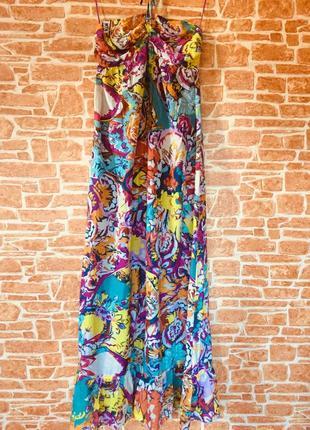 Льон/катон mango!!! довге плаття, легке,з оголеними плечима, оборкою,розмір м-л