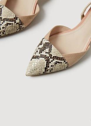 Туфли манго пудровые нюдовые со змеиным принтом2 фото