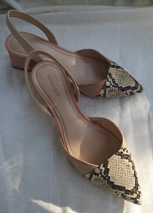 Туфли манго пудровые нюдовые со змеиным принтом5 фото