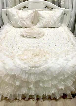 Шикарный комплект в спальню! покрывало, шторы, подушки!