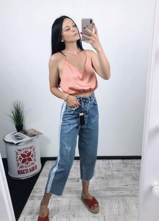 Трендовые винтажные джинсы мом кюлоты с лампасами лампасы высокая посадка