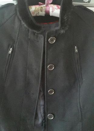 Пальто h&m осень-весна воротник норка 👑