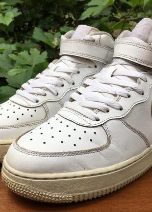 Кроссовки,кеды высокие nike air force 1 белые легкие р.40 original