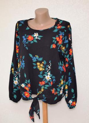 Шикарная блуза в цветочный принт с узелком спереди papaya