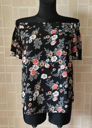 Новая блузка в цветочный принт с открытыми плечами, от бренда pepco.