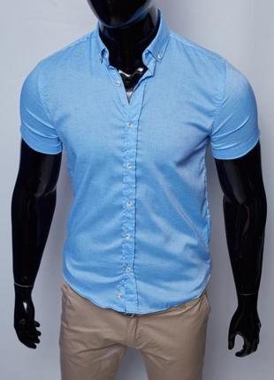 Рубашка мужская летняя figo 18023 с коротким рукавом3 фото