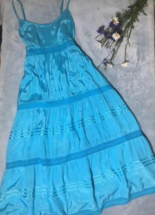 Невероятное платье небесного цвета вискоза+шёлк