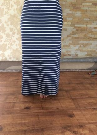 Хлопковая трикотажная длинная юбка макси полоска