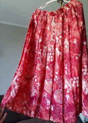 Юбка плиссе гофре розовая длины миди.