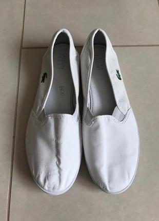 Мокасины стильный модный дорогой бренд lacoste размер 40