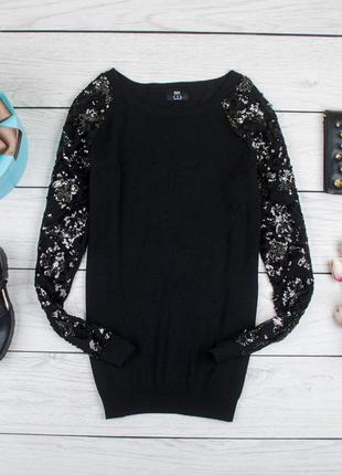 Очень классный черный и нарядный свитшот джемпер от f&f рр 12 наш 46