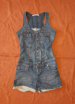 Джинсовый комбинезон с шортами ромпер джинсовый