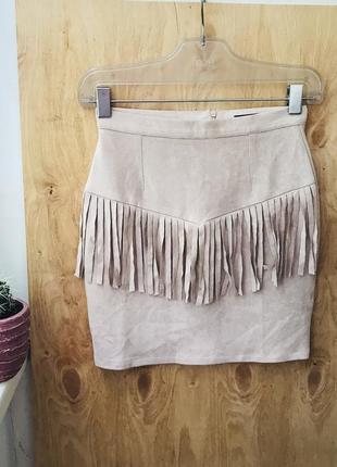 Мини юбка,пудрового цвета,с бахромой,  под замшу xs-s