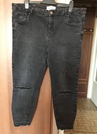 Крутейшие тёмно-серые стрейч джинсы большого размера