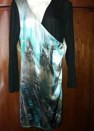 """Платье- на запах-jeans geisha- c актуальным принтом-""""город"""""""
