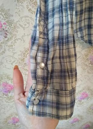 Легкая рубашечка в клетку4 фото