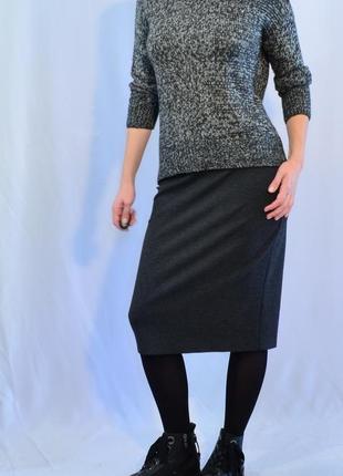 2848\60 трикотажная серая юбка-карандаш laura ashley l