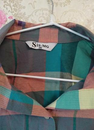 Удлиненная рубашка в клетку2 фото