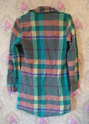 Удлиненная рубашка в клетку3 фото