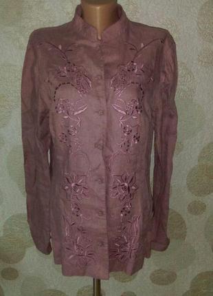Льняная вышитая блуза  цвета пыльная сирень  любимого бренда