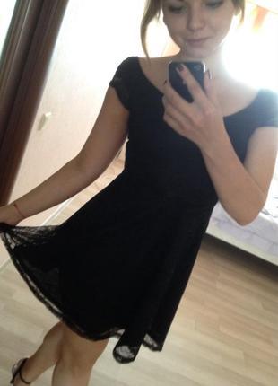 Платье divided (h&m) ажурное чёрное короткое