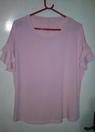 Женственная,трикотаж-масло,персиковая блуза-футболка с воланами,бол.разм.