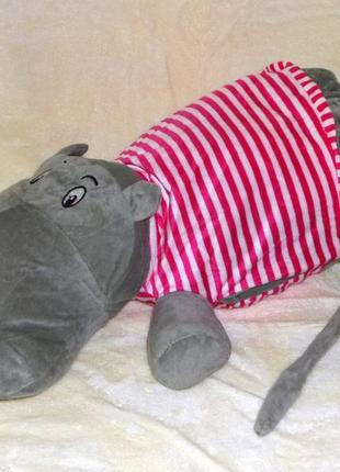 Плед - мягкая игрушка 4 в 1 (бегемотик в розовой тельняшке)