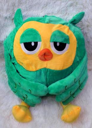 Плед - мягкая игрушка 3 в 1 сова (зеленая)