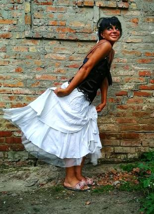 Льняная юбка с вискозой лен пышная длинная с фатином аппликацией цветы twiggy