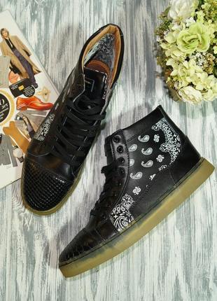 Sneakers parisiennes. кожа. фирменные классные высокие кеды, спортивные ботинки, сникерсы