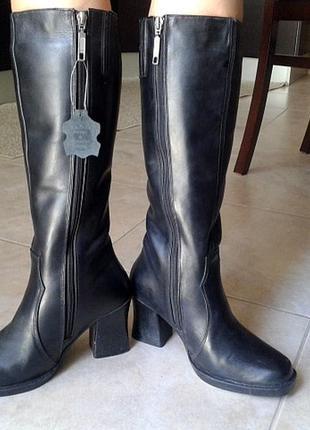 Високі шкіряні чоботи wilmar, сапоги на среднем каблуке wilmar