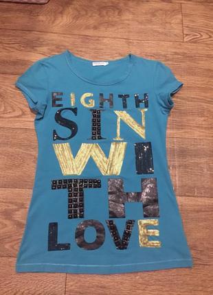 Крутая классная футболка,декор с стразов eighth sin  р.s