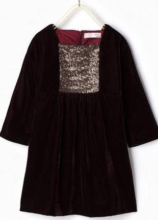 Платье из бархата с паетками