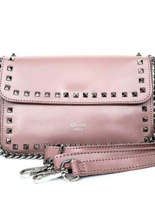 Женский кожаный клатч розовый сумка кожаная кроссбоди розовая пудровая celine с цепочкой