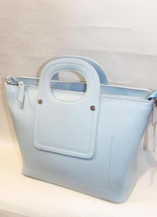 Голубая кожаная сумка женская стильная ведро с круглыми ручками кроссбоди