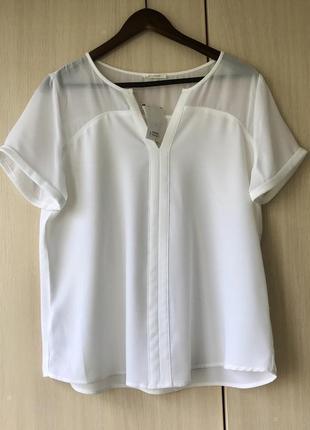 Белая блуза с прозрачной вставкой promod, xs, xxl