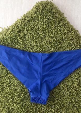 Новый синий вязаный купальник анжелика, трусики бразилиана, пуш ап2 фото