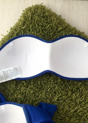Новый синий вязаный купальник анжелика, трусики бразилиана, пуш ап8 фото