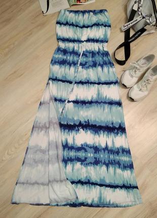 Сарафан платье макси прямого покроя трикотажное морское без бретелек