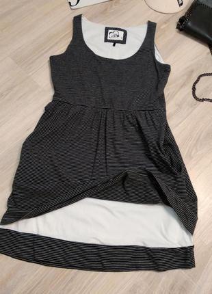 Спортивное мини платье трикотажное с завышенной линией талии