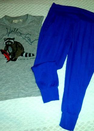 Синие бриджи с мотней и карманами