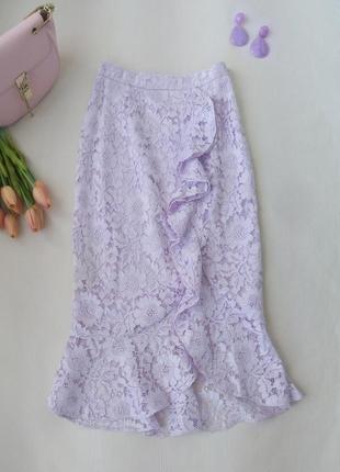 Красивая кружевная юбка с рюшей нежно-сиреневого цвета от miss selfridge разм m